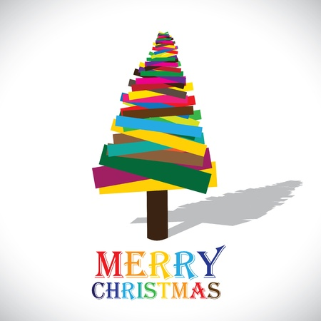 christmastide: Abstract colorful christmas tree on white background- vector graphic. This illustration shows xmas tree made of  paper in various colors with colorful text merry christmas Illustration