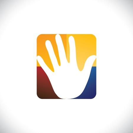 Menselijke hand (palm) pictogram (teken) in een kleurrijke afgeronde rechthoek-vector graphic.