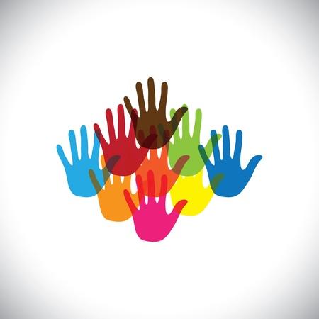 kleurrijke hand (palm) iconen (tekenen) van kinderen samen