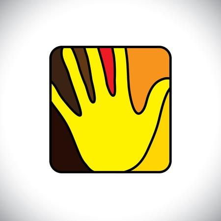 Iemands hand (palm) icoon (symbool) in een afgeronde rechthoek-vector graphic. Vector Illustratie