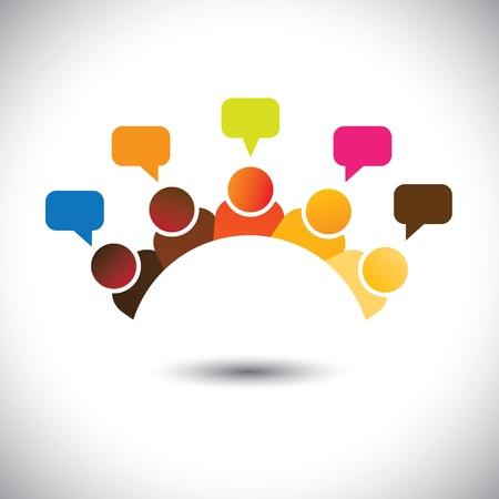 kierownictwo biurowe (pracowników) spotkania, dyskusje, opinie-graficzny wektor.
