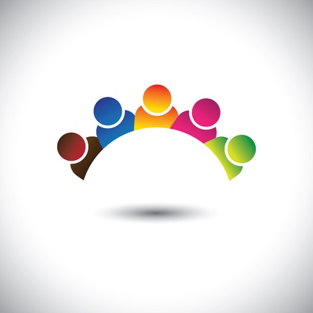 social worker: colorful office executives(employees) unity & diversity- vector graphic.
