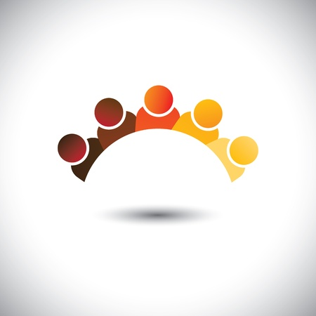 office force: Abstract colorful office staff or employees sign(icon)- vector graphic. Illustration