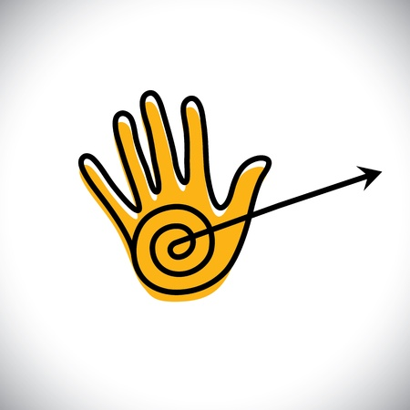 outline of hand icon(sign) with arrow - concept vector graphic. Stock Vector - 21920671