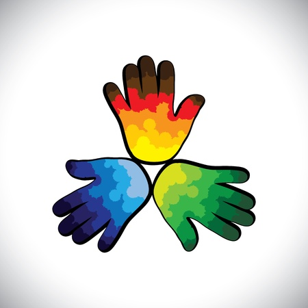 three hands: Three colorful paint splashes on kids hands(green,orange & blue)- vector graphic.