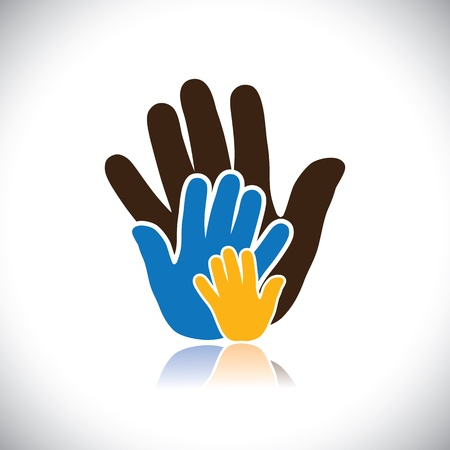 nexus: colorful hand icons(signs) of people showing concept of family- vector graphic.