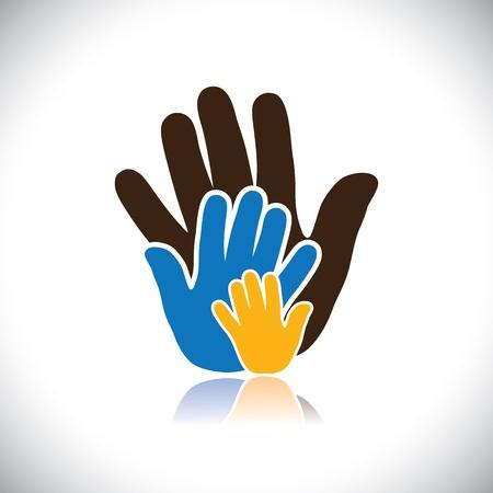 fraternidad: iconos de la mano de colores (signos) de personas que muestra el concepto de familia-gráfico vectorial. Vectores