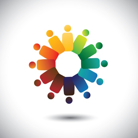 Concept of community unity,solidarity & friendship- vector graphic.  Vettoriali