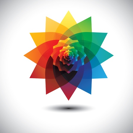abstract colorful fantasy flower in rainbow colors- vector graphic.