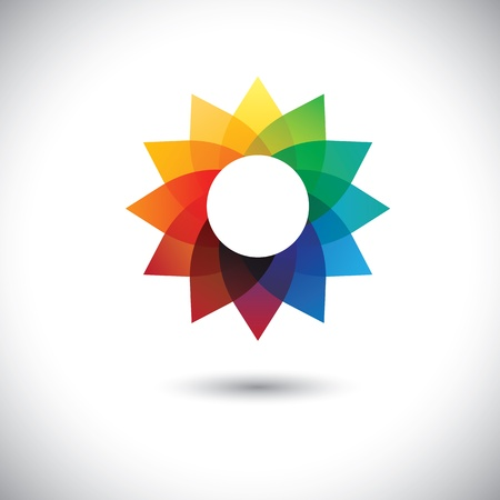 beautiful colorful fantasy flower in rainbow colors- vector graphic.  Vector