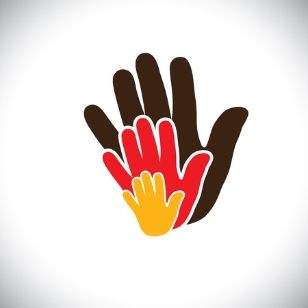 fraternidad: iconos de la mano de los padres y del niño que muestra el concepto de familia-gráfico vectorial.