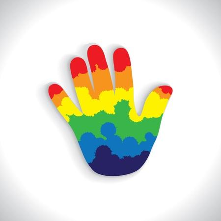 kleurrijke verf morsen (spat) bij de hand (palm) pictogram (teken) - vector graphic. Vector Illustratie