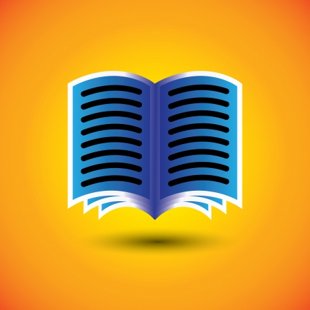 abstract digital book or e-book sign on orange background - vector graphic. Stock Vector - 22242123