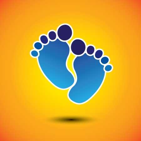 playschool: babys or toddlers foot mark in blue on orange background Illustration