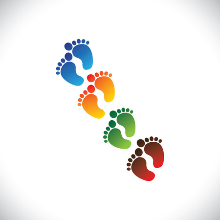 kids feet: babys or toddlers colorful foot step pairs for kindergarten