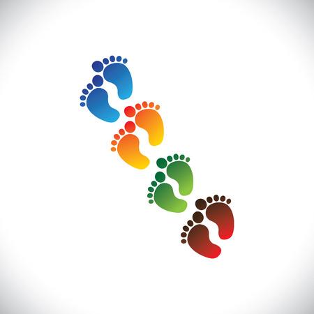 huella pie: beb� o coloridos pares paso pie del ni�o para el kindergarten