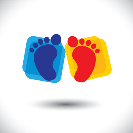 nursery school: babys colorful pair of foot sign or symbol for nursery school