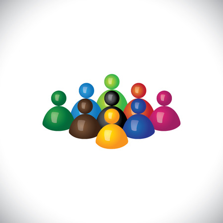 playschool: colorful 3d group of diverse & united people icons or signs