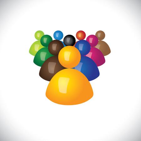 followers: icone colorate 3d o segni di personale d'ufficio o dipendenti Vettoriali