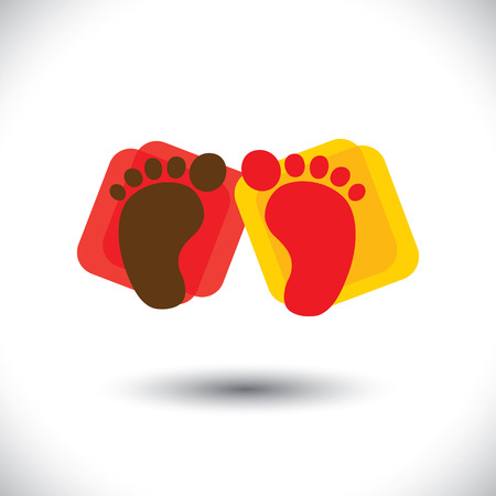 child's: Childs colorful pair of foot-print sign or symbol for school