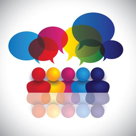 약혼: 얘기를 학교에 아이 또는 사무실의 직원 회의의 개념 벡터. 그래픽은 글로벌 컨퍼런스, 소셜 미디어의 상호 작용과 참여, 어린이 학교에서 이야기를, 직원 토론 나타냅니다