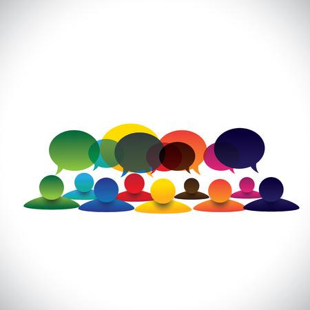 Pojęcie wektora Grupa ludzi rozmowy lub rozmów pracowniczych. Grafika reprezentuje również interakcję z mediów społecznych i zaangażowanie, dzieci mówią w szkole, opinii pracowników, rozmowa społeczności Ilustracje wektorowe