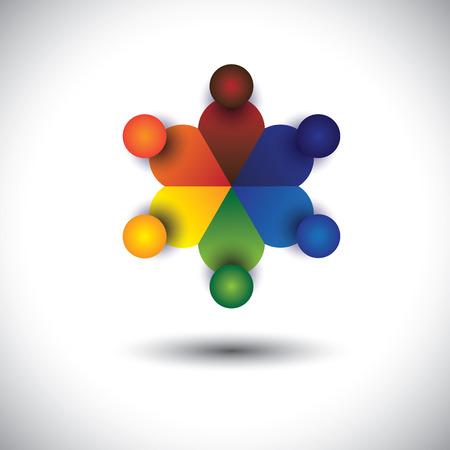cooperativismo: concepto de vector de los niños o los niños que juegan en círculo. La gráfica también representa la interacción y participación de los medios sociales, los niños que hablan en la escuela, trabajadores, empleados discusiones reuniones y Contraindicaciones Vectores