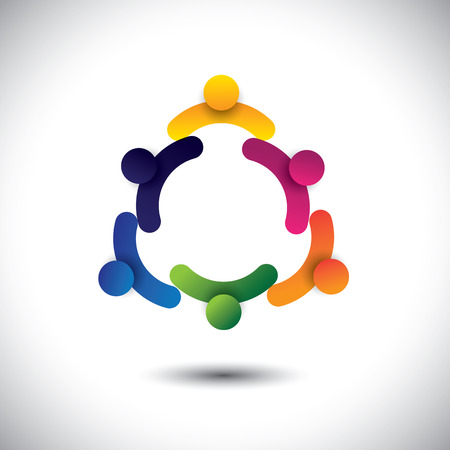 concept vector of circle kids playing or children having fun together. The graphic also represents groups of people as community, school kids interacting, workers & employees meetings Vettoriali