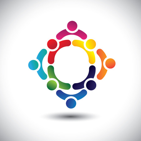 building activity: colorful people & children icons in multiple circles- concept vector. This illustration can also represent concept of children playing together or friendship or team building or group activity, etc  Illustration