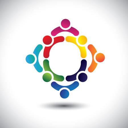 bunten Menschen und Kinder-Icons in mehreren Kreisen-Konzept Vektor. Diese Darstellung kann auch repräsentieren Konzept der Kinder zusammen spielen oder Freundschaft oder Team-Building oder in der Gruppe, etc.