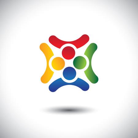 integral: Dise�o colorido de amigos juntos compartiendo tiempo felices juntos. Este gr�fico tambi�n puede representar la unidad y la solidaridad en el grupo o equipo de personas, trabajo en equipo, compromiso, compromiso, etc Vectores