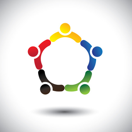 children holding hands: unity in people community, solidarity & friendship- concept vector. This illustration can also represent colorful kids playing together holding hands in circles or union of employees, workers or staff