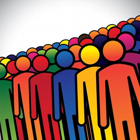 사람이나 노동자 또는 직원의 추상 다채로운 그룹 - 개념 벡터. 그래픽은 또한 사람들에게 학생, 어린이 유치원 아이의 그룹을 형성하는 다양한 색상의 일러스트