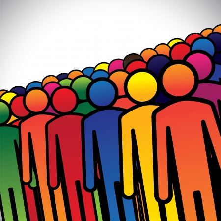 diverse business team: abstract colorful group of people or workers or employees - concept vector. The graphic also represents people icons in various colors forming a group of students, children or kindergarten kids