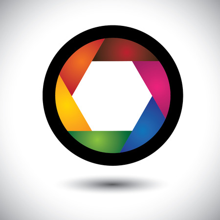 abstract colorful camera shutter ( aperture ) with blades  The graphic contains aperture opening of SLR camera with infinite concentric spiral of blades