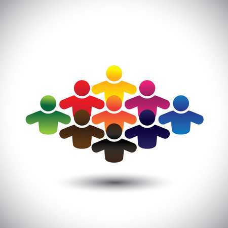 colleague: abstract colorful group of people or students or children - concept vector. The graphic also represents people icons in various colors forming a community of workers, employees or executives Illustration