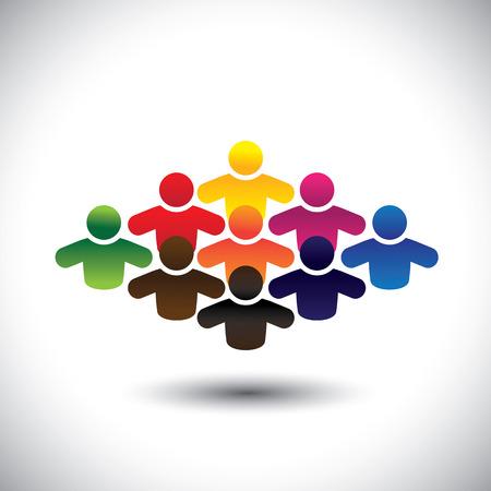 diversidad: abstracto colorido grupo de personas o estudiantes o los niños - vector concepto. La gráfica también representa iconos de la gente en diferentes colores que forman una comunidad de trabajadores, empleados o ejecutivos