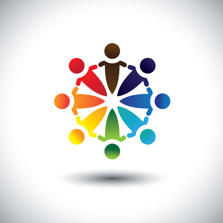 multi racial: Concept vector of colorful people party & having fun in circle. The illustration also represents concepts like worker unions, employee diversity, community friendship & sharing, children in school, etc