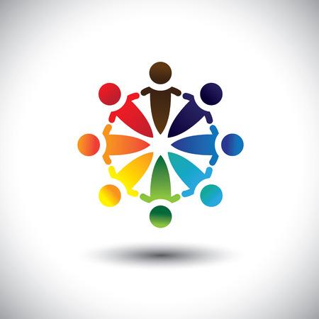Concepto de vector de la gente colorida de la fiesta y la diversión en el círculo. La ilustración también representa conceptos como los sindicatos de trabajadores, la diversidad de los empleados, la comunidad y compartir la amistad, los niños de la escuela, etc
