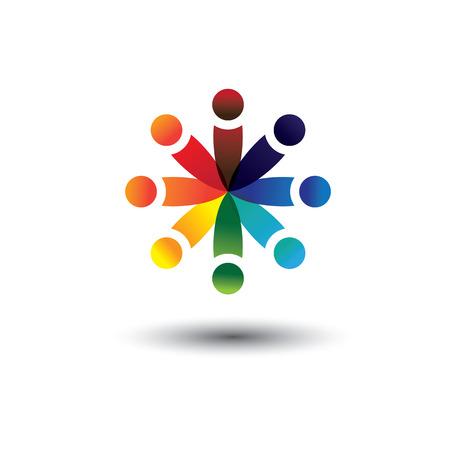 integral: Concepto de vector de ni�os de la escuela de colores que juegan en c�rculo. La ilustraci�n tambi�n representa conceptos como los sindicatos de trabajadores, la diversidad de los empleados, la comunidad y compartir la amistad, los ni�os de la escuela, etc