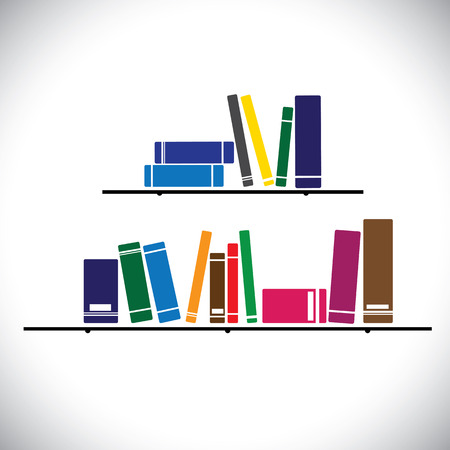 colorful collection books on a library shelf - study concept vector. The graphic contains books in different sizes and colors stacked Vettoriali