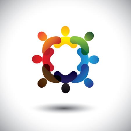 Abstrakt bunten Gemeinschaft Menschen Symbole im Kreis-Vektor-Grafik. Dieses Symbol Abbildung kann auch repräsentieren Konzept der Kinder zusammen spielen oder Freundschaft oder Team-Building oder in der Gruppe, etc.