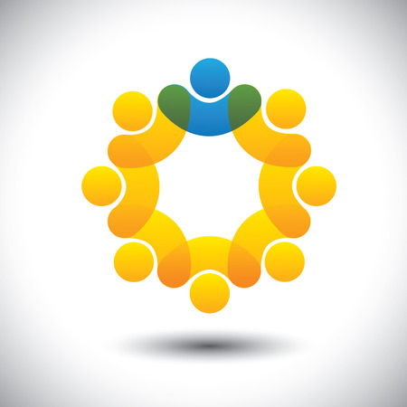 Abstract icons of employees team & manager in circle - concept vector. This icon graphic can also represent concept of leader and leadership, supervisor and staff, community members and leader, etc