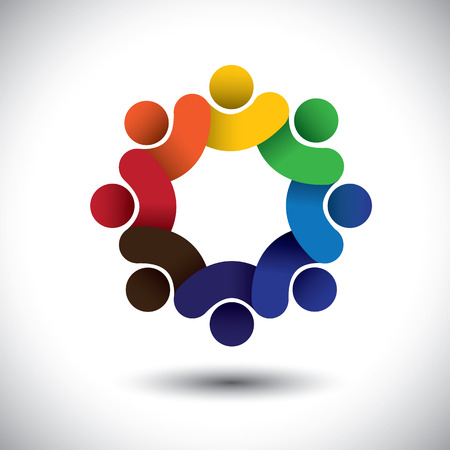 Abstract circle of people icons - diversity in employment concept. This vector graphic also represents concept of employees or workers meeting, workers unity, executive staff union, children & kids