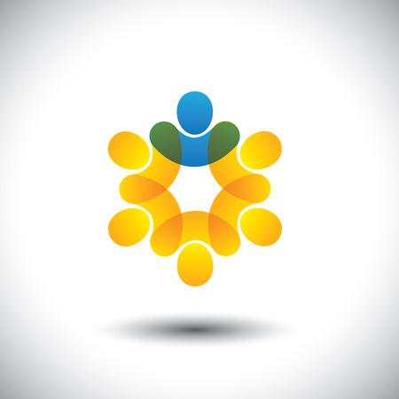 felügyelő: Absztrakt ikonokat az emberek és vezető kör - vezetői koncepció. Ez a vektorgrafikus is jelent fogalmát cég alkalmazottai és vezetője, felügyelő és a személyzet, a közösség tagjai és vezető, stb