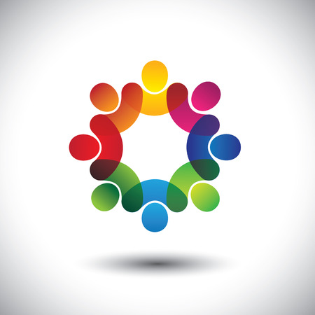 activity icon: Abstract colorful icons of children or kids in school standing in circle. This vector graphic also represents concept of employees or workers meeting, workers union, executive staff discussions, etc
