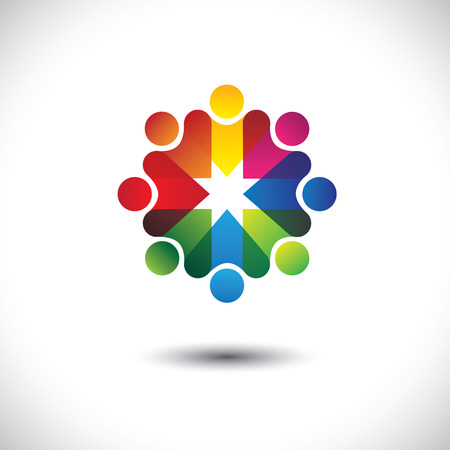 friends having fun: Abstract colorful icons of friends & friendship in circle. This vector graphic also represents concept of party people having fun, workers union, employees meetings, kids or children playing, etc