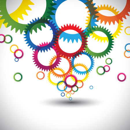 chromatic color: colorful abstract icons of cogwheel or gears - vector background. The graphic contains colorful circles and rings of cogwheel in many colors