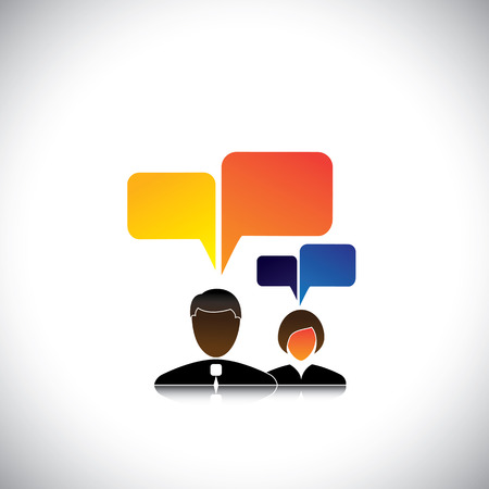 interactions: abstract man & woman employees icons with speech bubbles - concept vector. The graphic also represents employee meetings, executive discussions & interactions, workers chatting, office gossip, etc Illustration