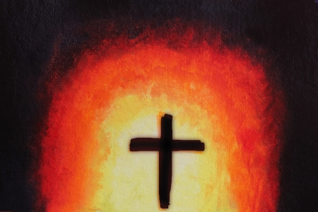 grunge cross: beautiful abstract acrylic painting with holy cross. The artwork consists religious christian symbol of holy cross in red color against a background of emerging bright light